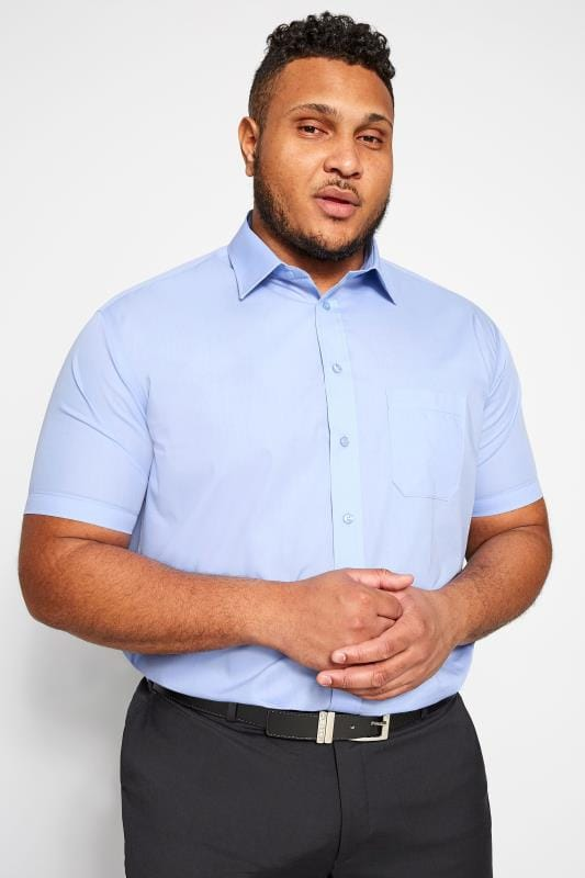 Plus Size Smart Shirts DOUBLE TWO Blue Non-Iron Short Sleeve Shirt