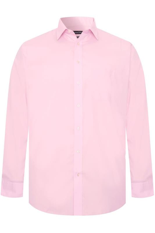 Men's Hats DOUBLE TWO Pink Non-Iron Long Sleeve Shirt