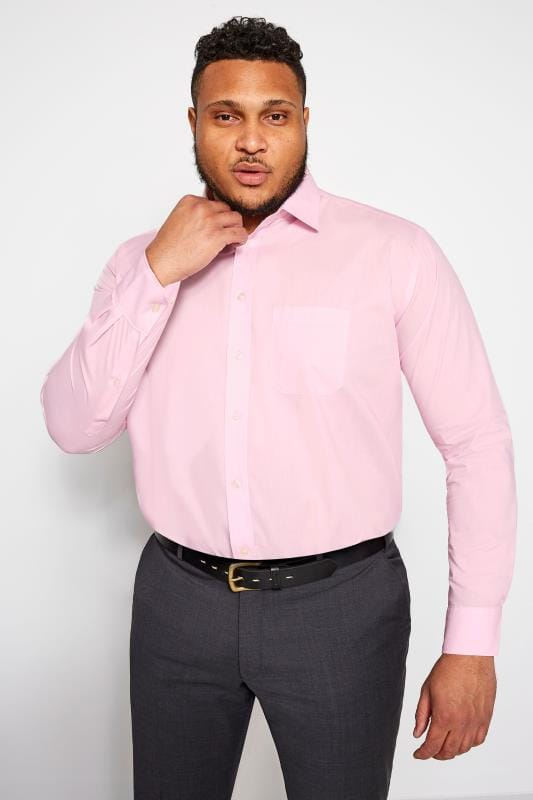 Plus Size Hats DOUBLE TWO Pink Non-Iron Long Sleeve Shirt