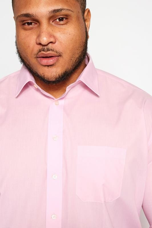 DOUBLE TWO Pink Non-Iron Long Sleeve Shirt