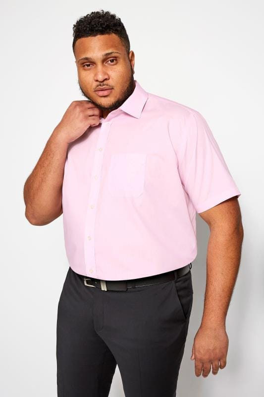 Smart Shirts DOUBLE TWO Pink Non-Iron Short Sleeve Shirt 202153