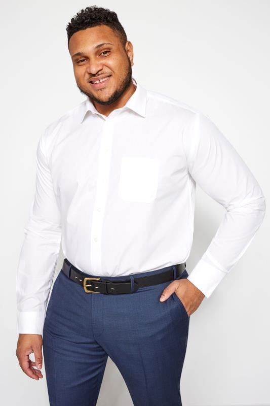 Plus Size Smart Shirts DOUBLE TWO White Non-Iron Long Sleeve Shirt