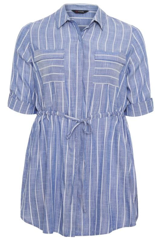 Blue Stripe Drawstring Waist Tunic