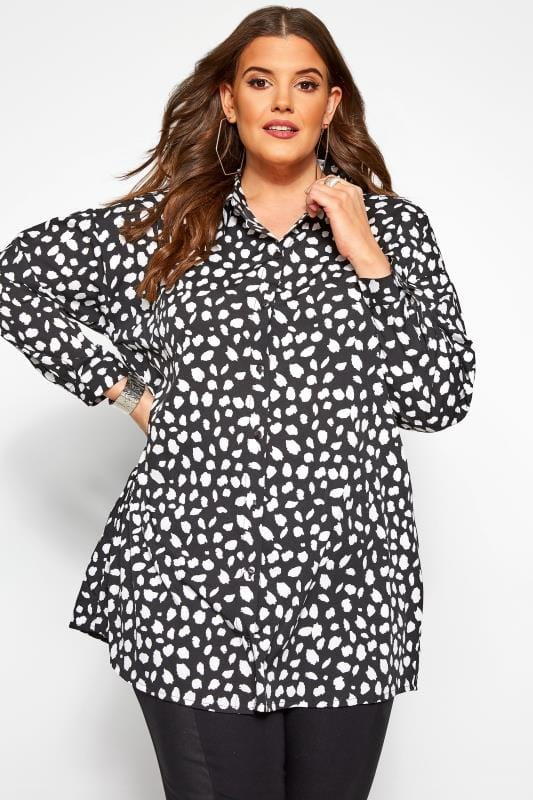 Plus Size Shirts Black & White Dalmatian Print Shirt