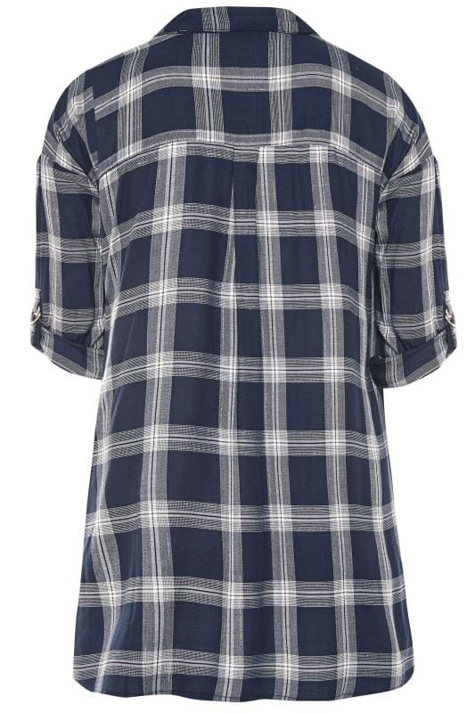 Navy & Silver Metallic Check Drop Shoulder Shirt