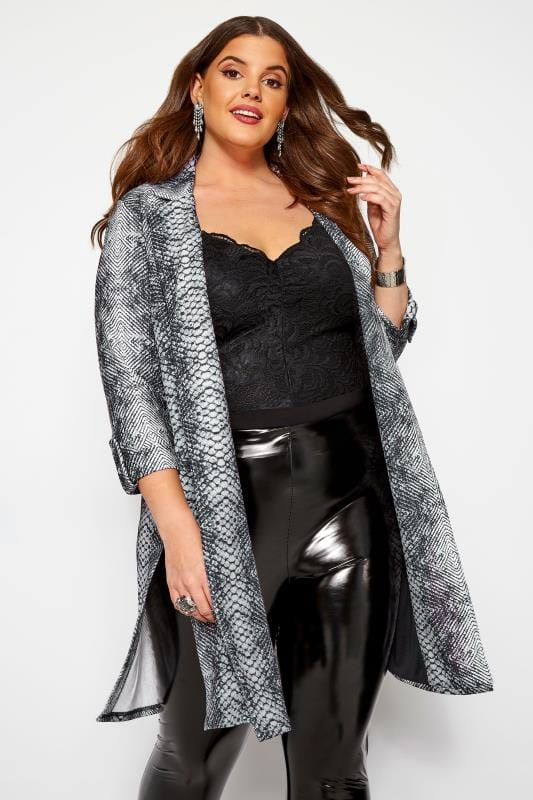 Plus Size Jackets Grey Snake Print Duster Jacket