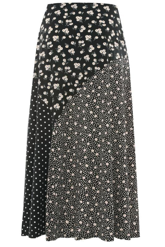 YOURS LONDON Black Cut Out Mixed Print Maxi Skirt