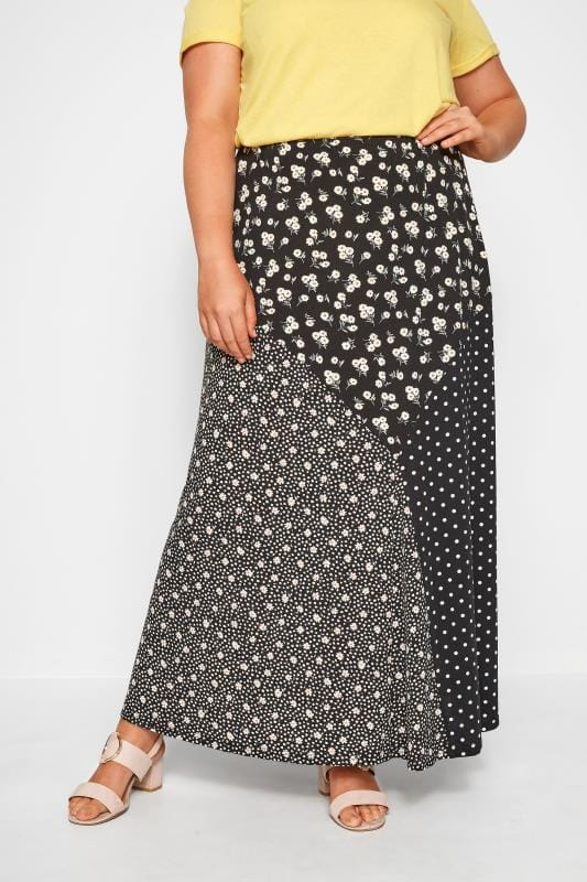 Plus Size Maxi Skirts YOURS LONDON Black Cut Out Mixed Print Maxi Skirt