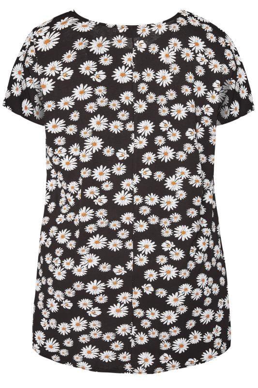Black Daisy Dipped Hem T-Shirt