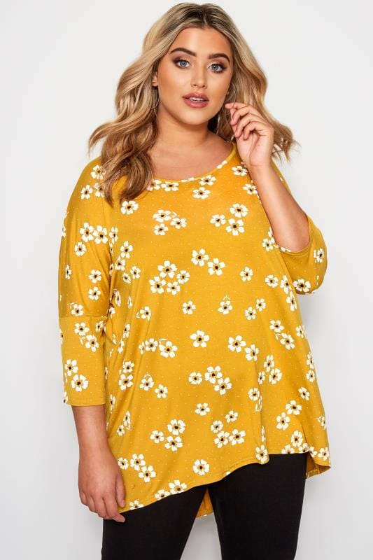 Plus Size Floral Tops Mustard Floral Print Dipped Hem Top