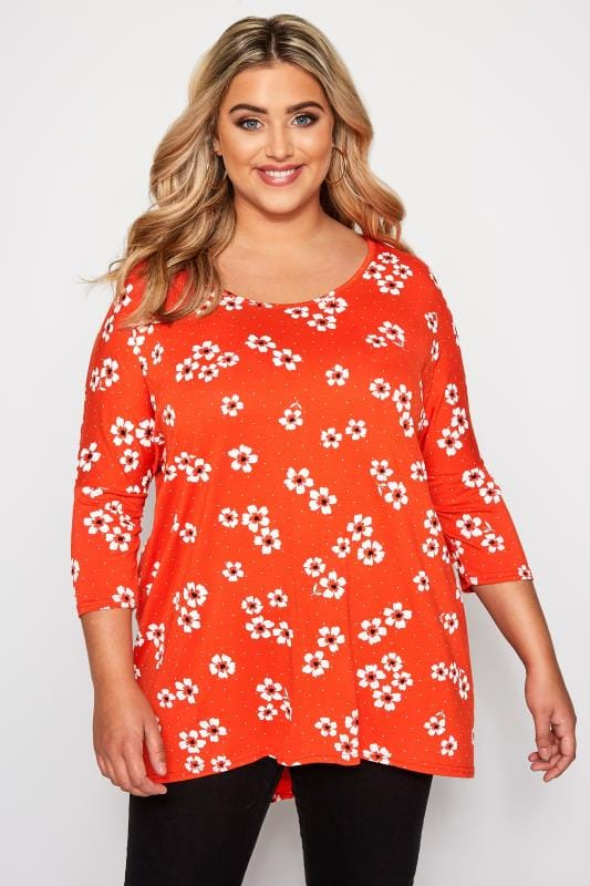 Plus Size Floral Tops Orange Floral Print Dipped Hem Top