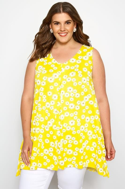 Plus Size Vests & Camis Yellow Floral Daisy Swing Vest Top