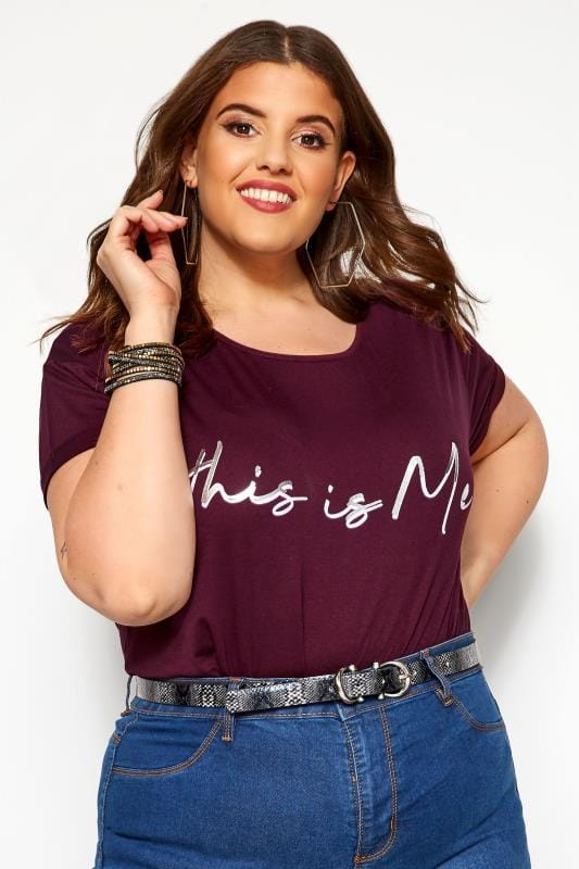 Plus Size Slogan Tops Damson Purple 'This Is Me' Slogan T-Shirt