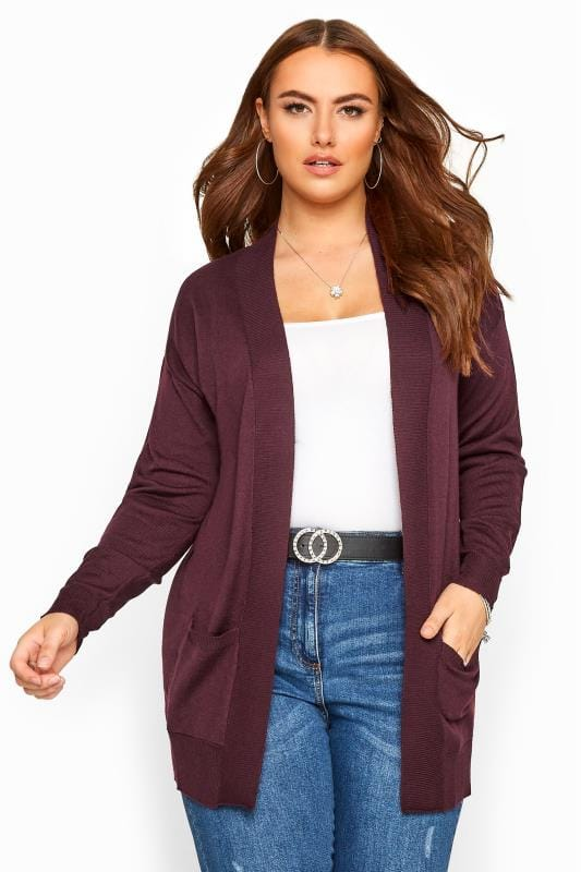 Plus Size Cardigans Damson Purple Edge To Edge Cardigan
