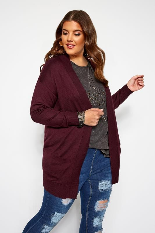 Plus Size Knitted Cardigans Damson Purple Edge To Edge Cardigan