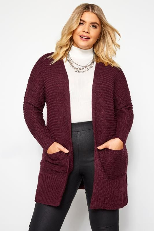 Plus Size Cardigans Damson Purple Ribbed Cardigan