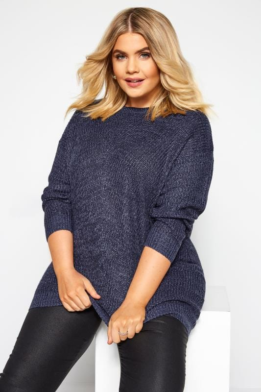 Plus Size Jumpers Dark Blue Chunky Knitted Jumper