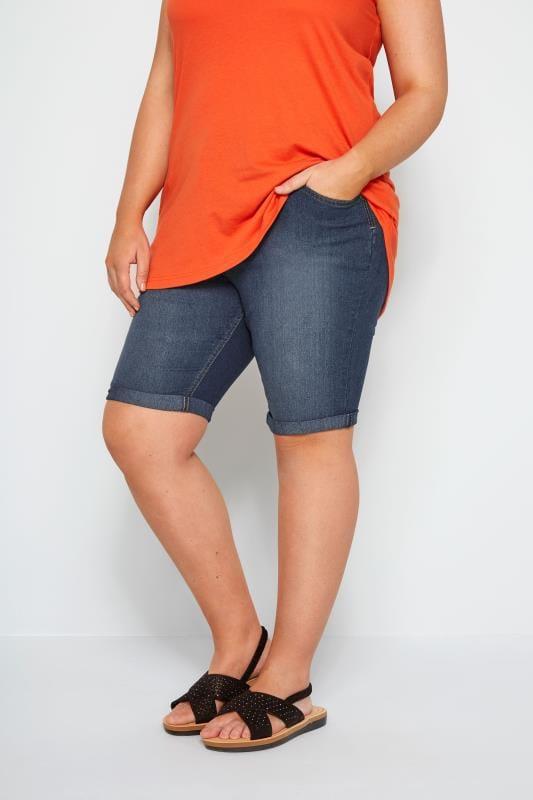 Большие размеры | Джинсовые шорты Темно-синие джинсовые шорты