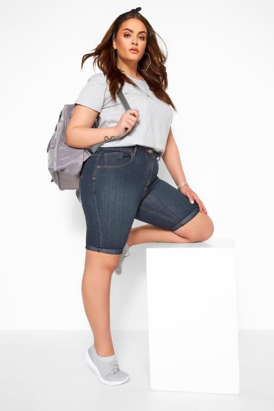 Большие размеры | Denim Shorts LIMITED COLLECTION Dark Blue Denim Shorts