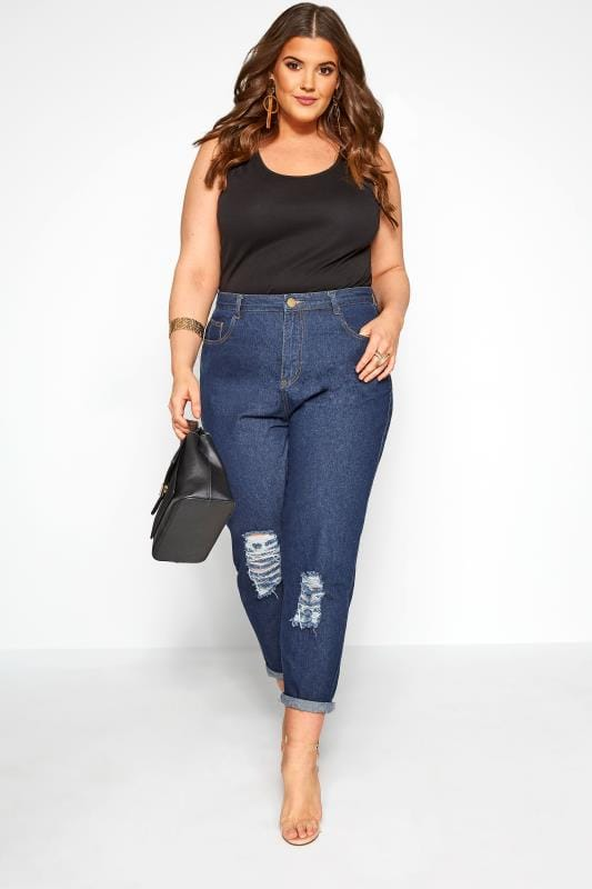 Plus Size Boyfriend Jeans Dark Blue Ripped Boyfriend Jeans