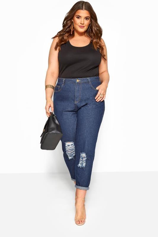 Plus Size Boyfriend Jeans Dark Blue Ripped Boyfriend Jeans