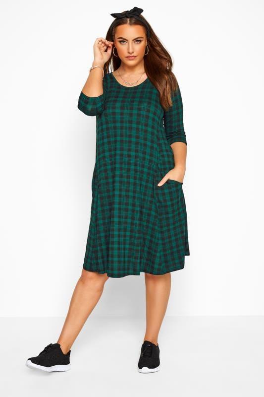 Plus Size Casual Dresses Dark Green Check Drape Pocket Dress