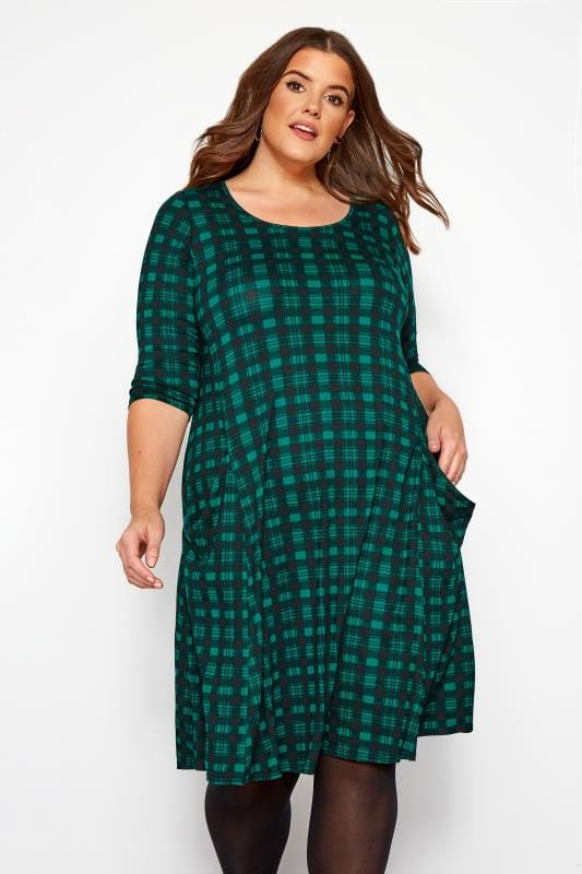 Plus Size Casual Dresses Dark Green Check Drape Pocket Dress