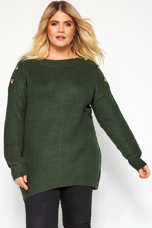 Plus Size Jumpers Dark Green Horn Button Knitted Jumper