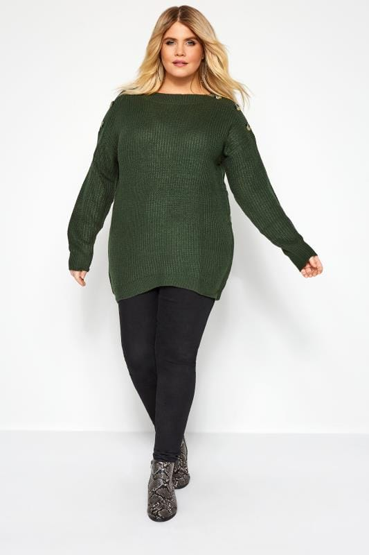 Dark Green Horn Button Knitted Jumper