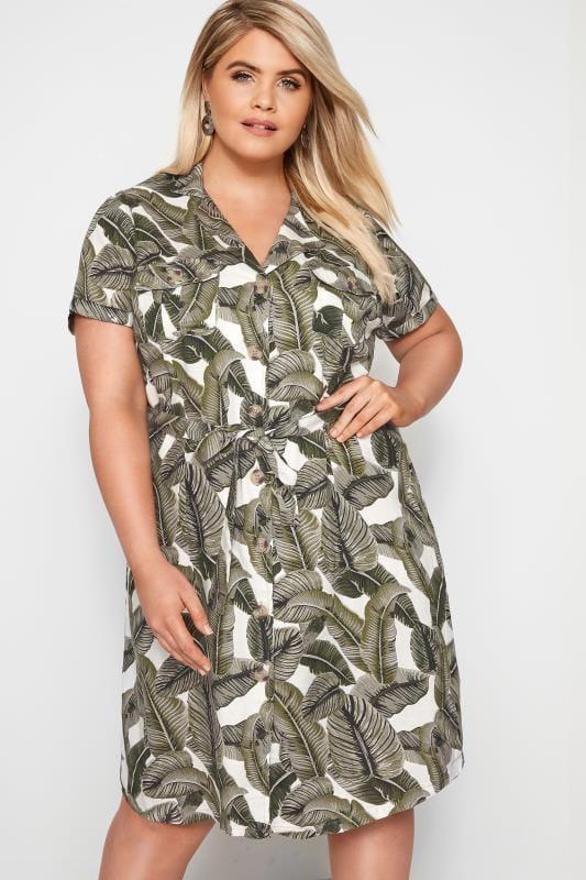 Plus Size Casual Dresses Dark Green Palm Print Utility Dress