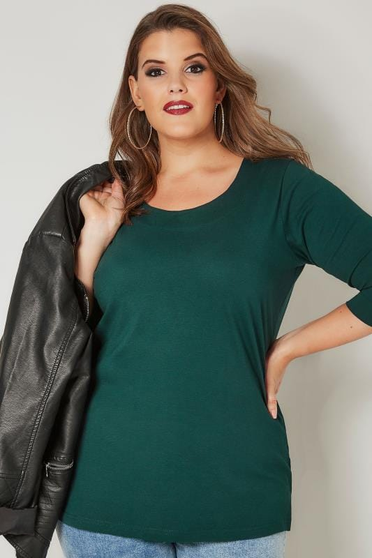Plus Size Day Tops Dark Green Seamed Scoop Neck Top