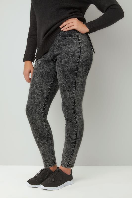 Official Website promo code soft and light Dark Grey Acid Wash JENNY Jeggings, Plus Size 16 to 32