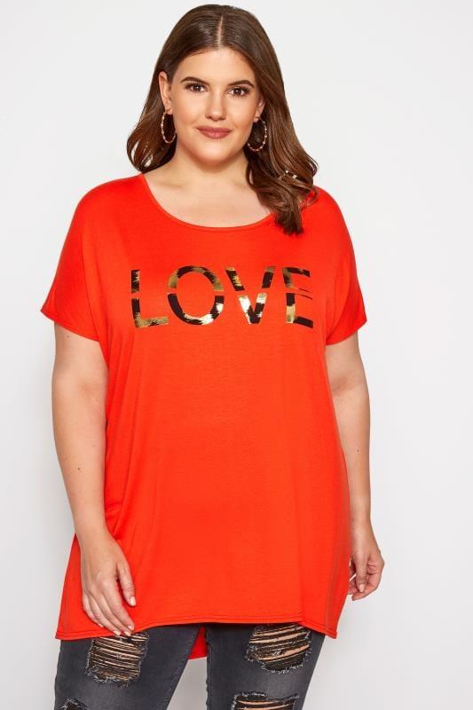 Plus Size T-Shirts Dark Orange 'Love' Slogan T-Shirt