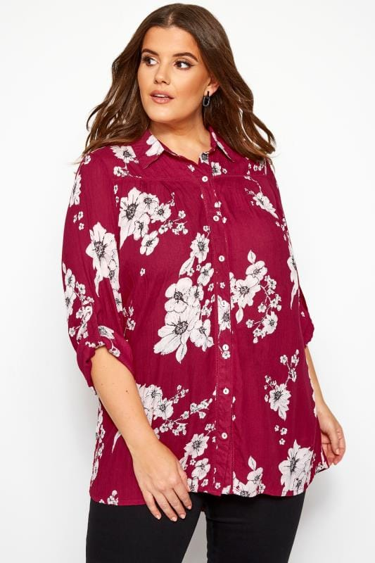 Plus Size Blouses & Shirts Dark Pink Floral Crinkle Shirt