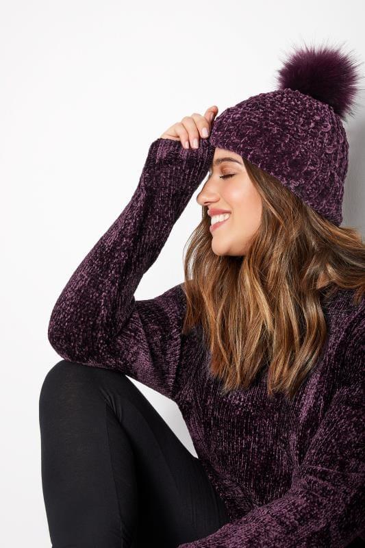 Plus Size Hats Dark Purple Chenille Pom Pom Hat