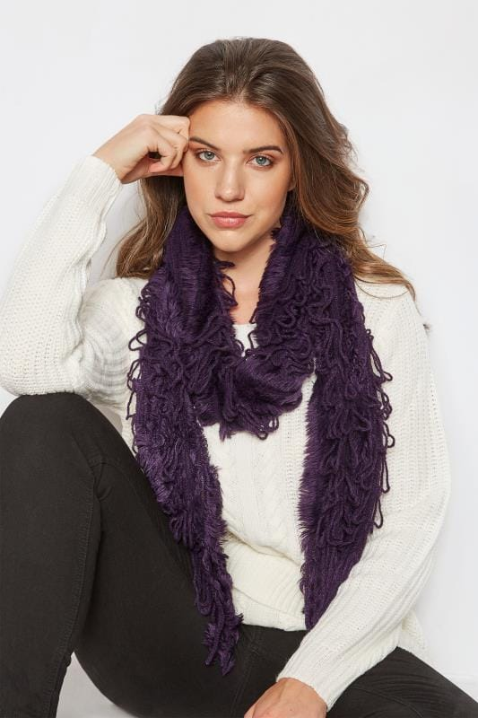 Dark Purple Crochet Scarf With Frayed Trim