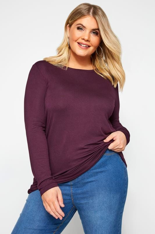 Plus Size Basic T-Shirts & Vests Dark Purple Scoop Neck Jersey Top