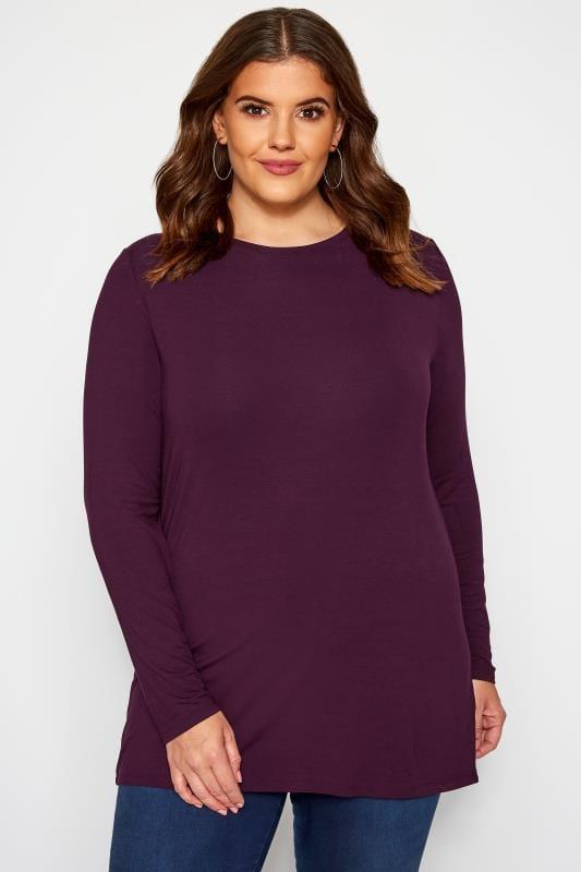 Dark Purple Scoop Neck Jersey Top
