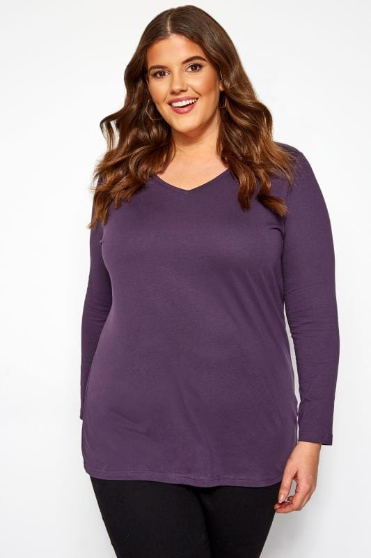 Plus Size Jersey Tops Dark Purple V-Neck Long Sleeve Top