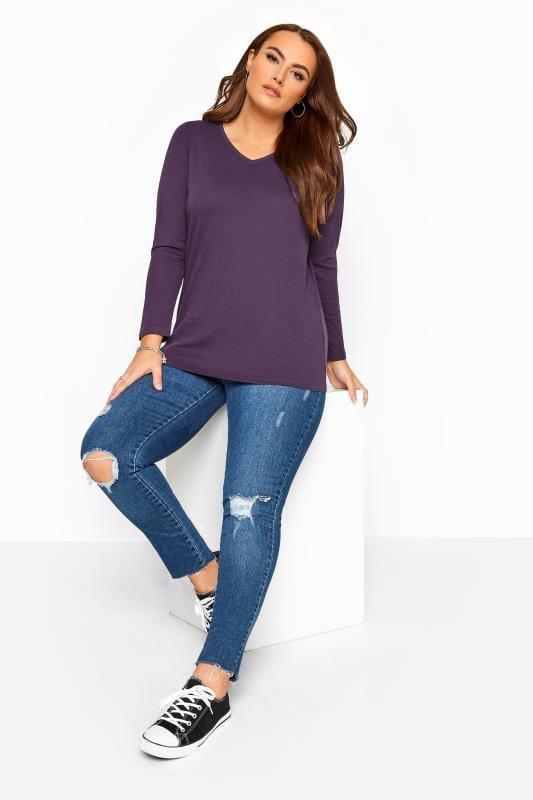 Dark Purple V-Neck Long Sleeve Top