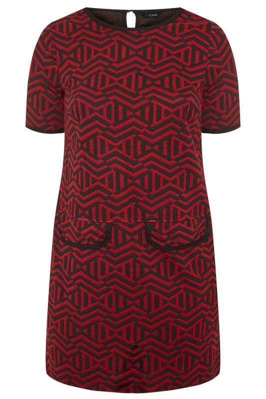 Plus Size Tunics Dark Red Aztec Print Mock Pocket Tunic
