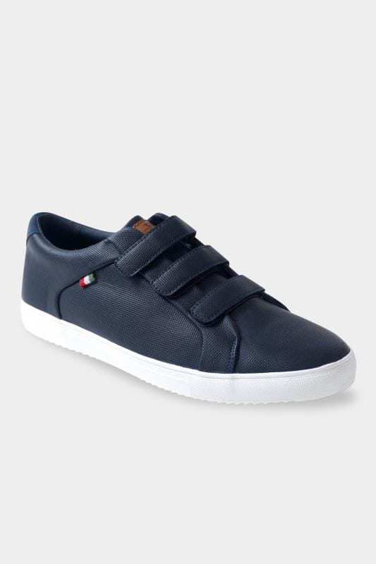 Footwear D555 Navy Faux Leather Trainers 202047