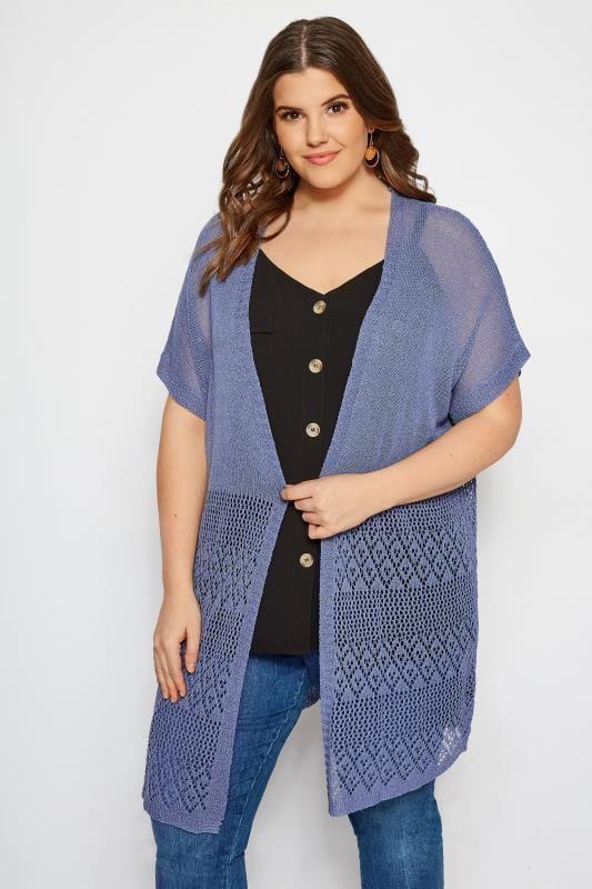 Plus Size Cardigans Denim Blue Crochet Effect Cardigan