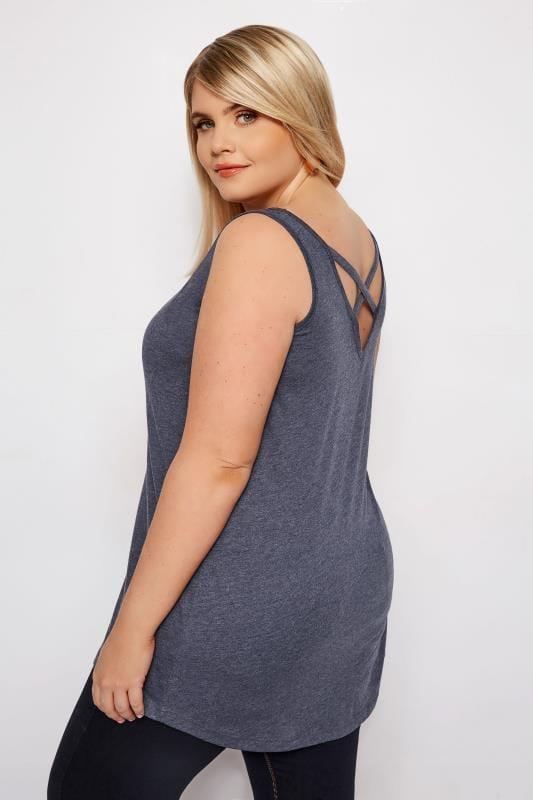 Plus Size Vests & Camis Denim Blue Cross Back Vest