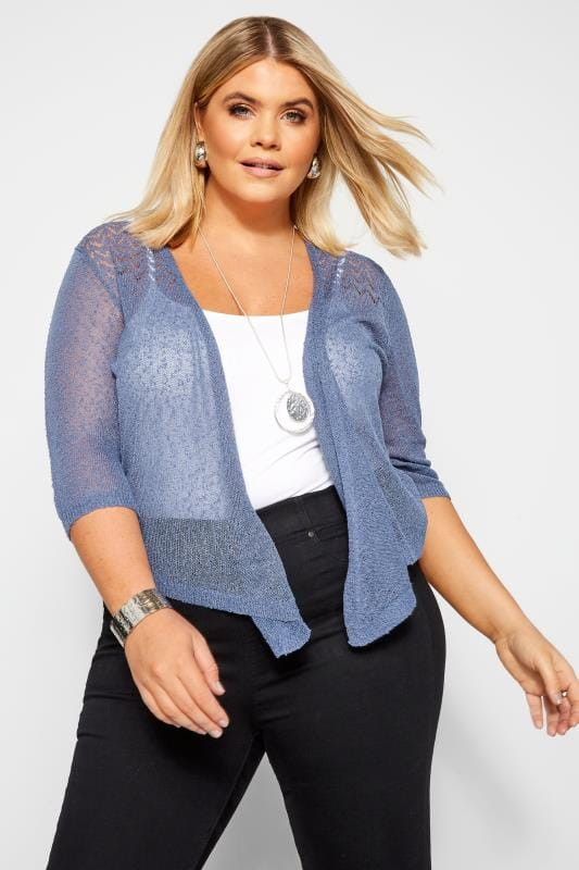 Plus Size Shrugs Denim Blue Waterfall Fine Knit Shrug