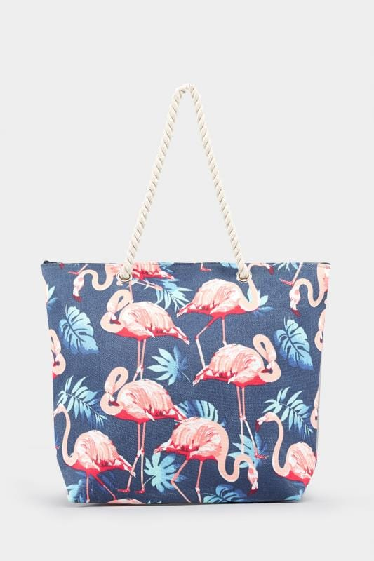 Navy Flamingo Print Beach Bag