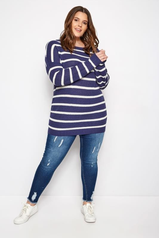 Denim Blue Stripe Lattice Back Knitted Jumper