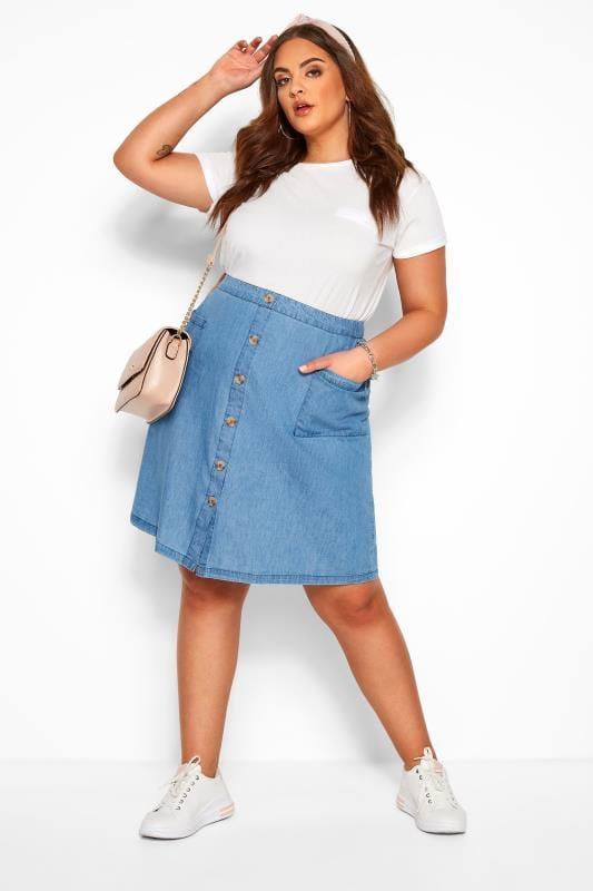 Plus Size Elasticated Waist Skirts Denim Chambray Button Skirt