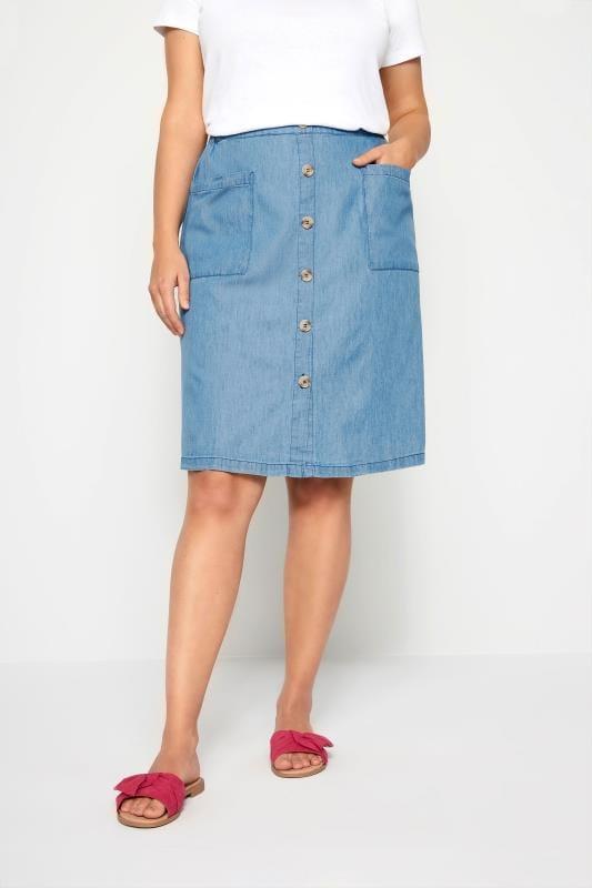 Plus-Größen Elasticated Waist Skirts Denim Chambray Button Skirt