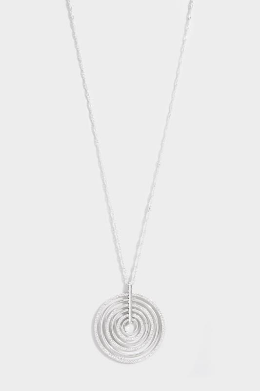Silver Diamante Circle Pendant Necklace